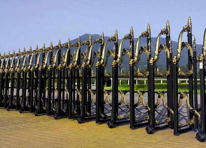 This model of metal accordion gate has a tough looking design (with colors in black on black, or black and gold) and comes in heights of 5 to 6 ft.